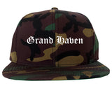 Grand Haven Michigan MI Old English Mens Snapback Hat Army Camo