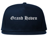 Grand Haven Michigan MI Old English Mens Snapback Hat Navy Blue