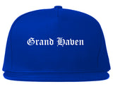 Grand Haven Michigan MI Old English Mens Snapback Hat Royal Blue