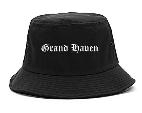 Grand Haven Michigan MI Old English Mens Bucket Hat Black