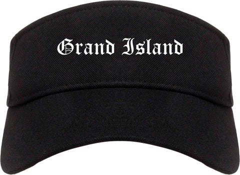 Grand Island Nebraska NE Old English Mens Visor Cap Hat Black