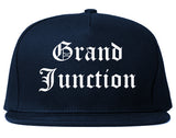 Grand Junction Colorado CO Old English Mens Snapback Hat Navy Blue