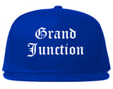 Grand Junction Colorado CO Old English Mens Snapback Hat Royal Blue