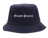 Grand Prairie Texas TX Old English Mens Bucket Hat Navy Blue