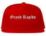 Grand Rapids Michigan MI Old English Mens Snapback Hat Red