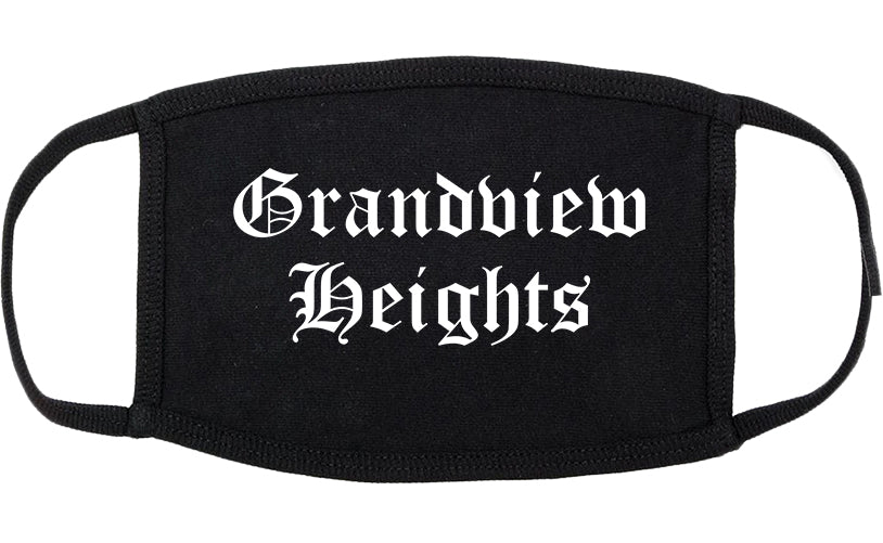 Grandview Heights Ohio OH Old English Cotton Face Mask Black