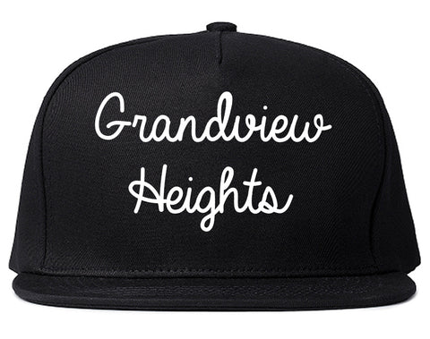 Grandview Heights Ohio OH Script Mens Snapback Hat Black