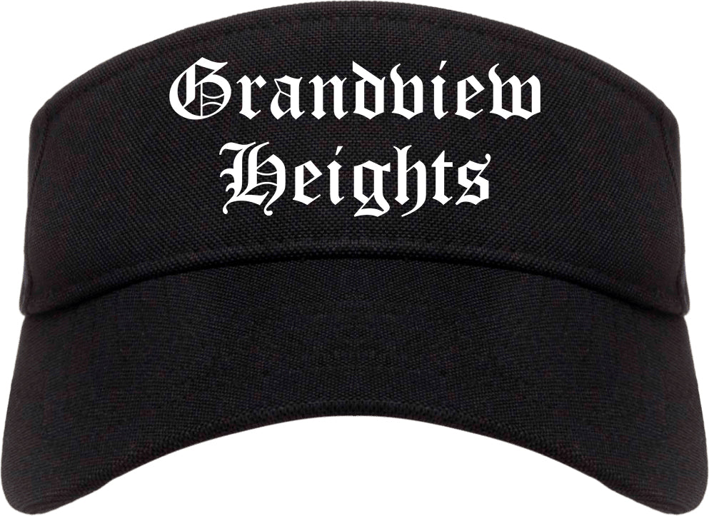 Grandview Heights Ohio OH Old English Mens Visor Cap Hat Black