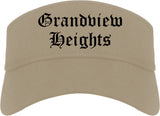 Grandview Heights Ohio OH Old English Mens Visor Cap Hat Khaki