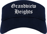 Grandview Heights Ohio OH Old English Mens Visor Cap Hat Navy Blue