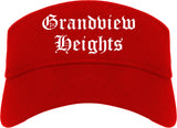 Grandview Heights Ohio OH Old English Mens Visor Cap Hat Red