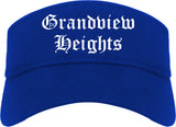 Grandview Heights Ohio OH Old English Mens Visor Cap Hat Royal Blue