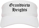 Grandview Heights Ohio OH Old English Mens Visor Cap Hat White
