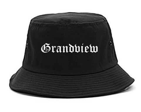 Grandview Washington WA Old English Mens Bucket Hat Black