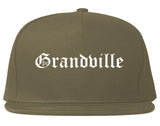 Grandville Michigan MI Old English Mens Snapback Hat Grey