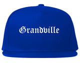 Grandville Michigan MI Old English Mens Snapback Hat Royal Blue
