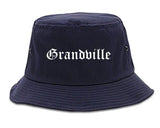 Grandville Michigan MI Old English Mens Bucket Hat Navy Blue