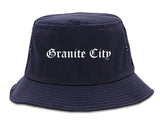 Granite City Illinois IL Old English Mens Bucket Hat Navy Blue