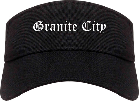 Granite City Illinois IL Old English Mens Visor Cap Hat Black