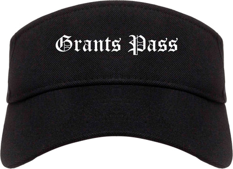 Grants Pass Oregon OR Old English Mens Visor Cap Hat Black