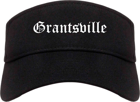 Grantsville Utah UT Old English Mens Visor Cap Hat Black