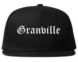 Granville Ohio OH Old English Mens Snapback Hat Black