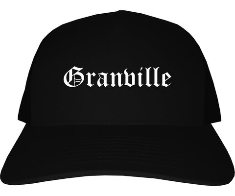 Granville Ohio OH Old English Mens Trucker Hat Cap Black