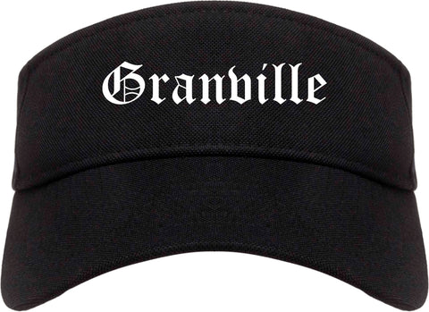 Granville Ohio OH Old English Mens Visor Cap Hat Black