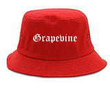 Grapevine Texas TX Old English Mens Bucket Hat Red