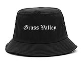 Grass Valley California CA Old English Mens Bucket Hat Black