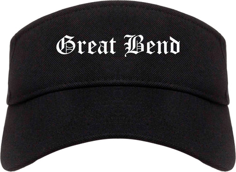 Great Bend Kansas KS Old English Mens Visor Cap Hat Black