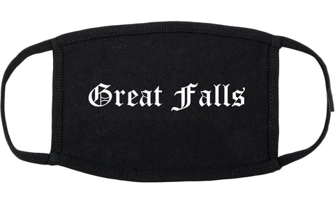 Great Falls Montana MT Old English Cotton Face Mask Black