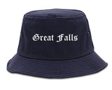 Great Falls Montana MT Old English Mens Bucket Hat Navy Blue