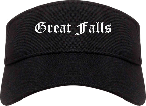 Great Falls Montana MT Old English Mens Visor Cap Hat Black