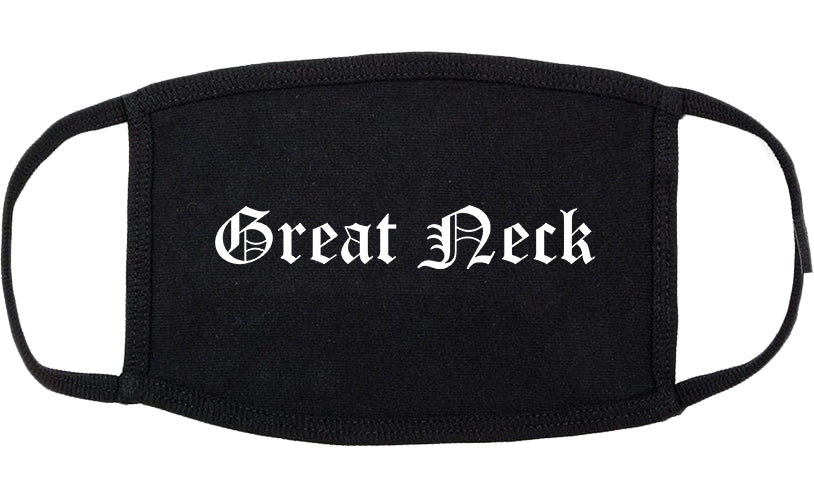 Great Neck New York NY Old English Cotton Face Mask Black