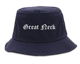 Great Neck New York NY Old English Mens Bucket Hat Navy Blue