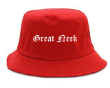 Great Neck New York NY Old English Mens Bucket Hat Red