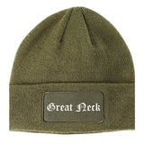 Great Neck New York NY Old English Mens Knit Beanie Hat Cap Olive Green