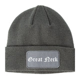 Great Neck New York NY Old English Mens Knit Beanie Hat Cap Grey