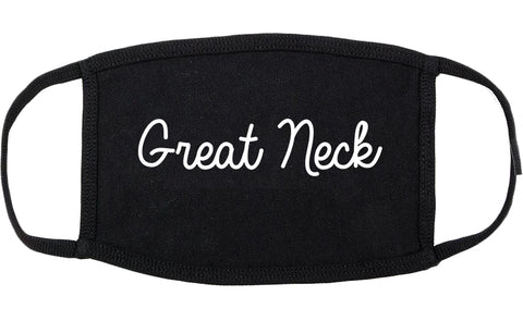 Great Neck New York NY Script Cotton Face Mask Black