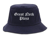Great Neck Plaza New York NY Old English Mens Bucket Hat Navy Blue