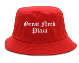 Great Neck Plaza New York NY Old English Mens Bucket Hat Red