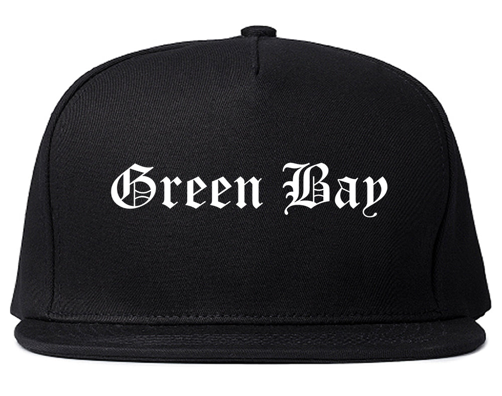 Green Bay Wisconsin WI Old English Mens Snapback Hat Black