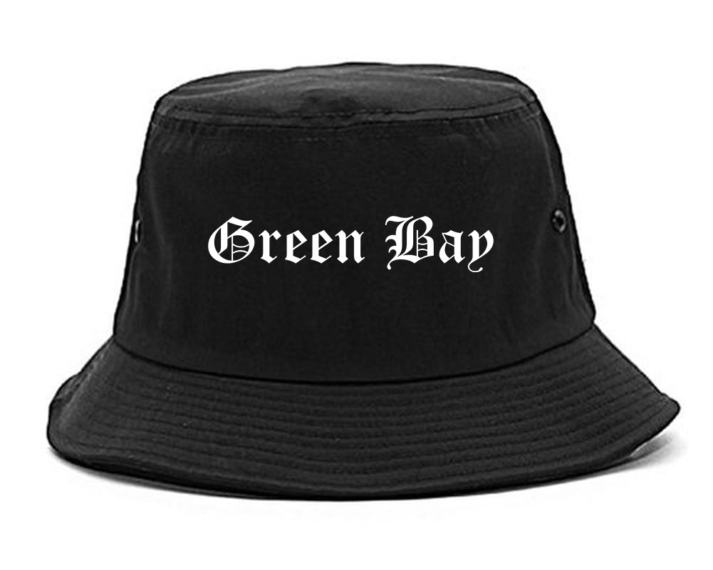 Green Bay Wisconsin WI Old English Mens Bucket Hat Black