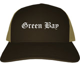 Green Bay Wisconsin WI Old English Mens Trucker Hat Cap Brown