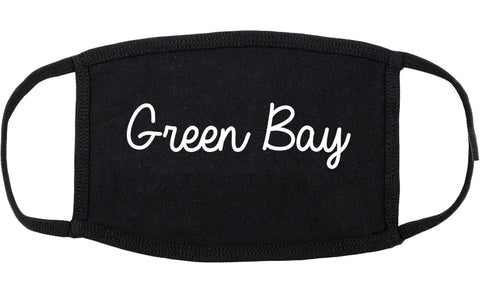 Green Bay Wisconsin WI Script Cotton Face Mask Black