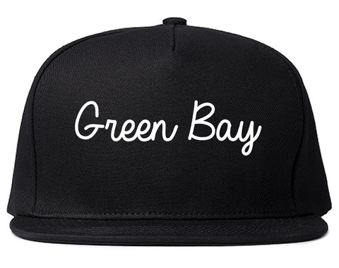 Green Bay Wisconsin WI Script Mens Snapback Hat Black
