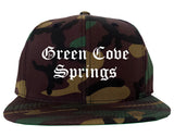 Green Cove Springs Florida FL Old English Mens Snapback Hat Army Camo