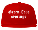 Green Cove Springs Florida FL Old English Mens Snapback Hat Red
