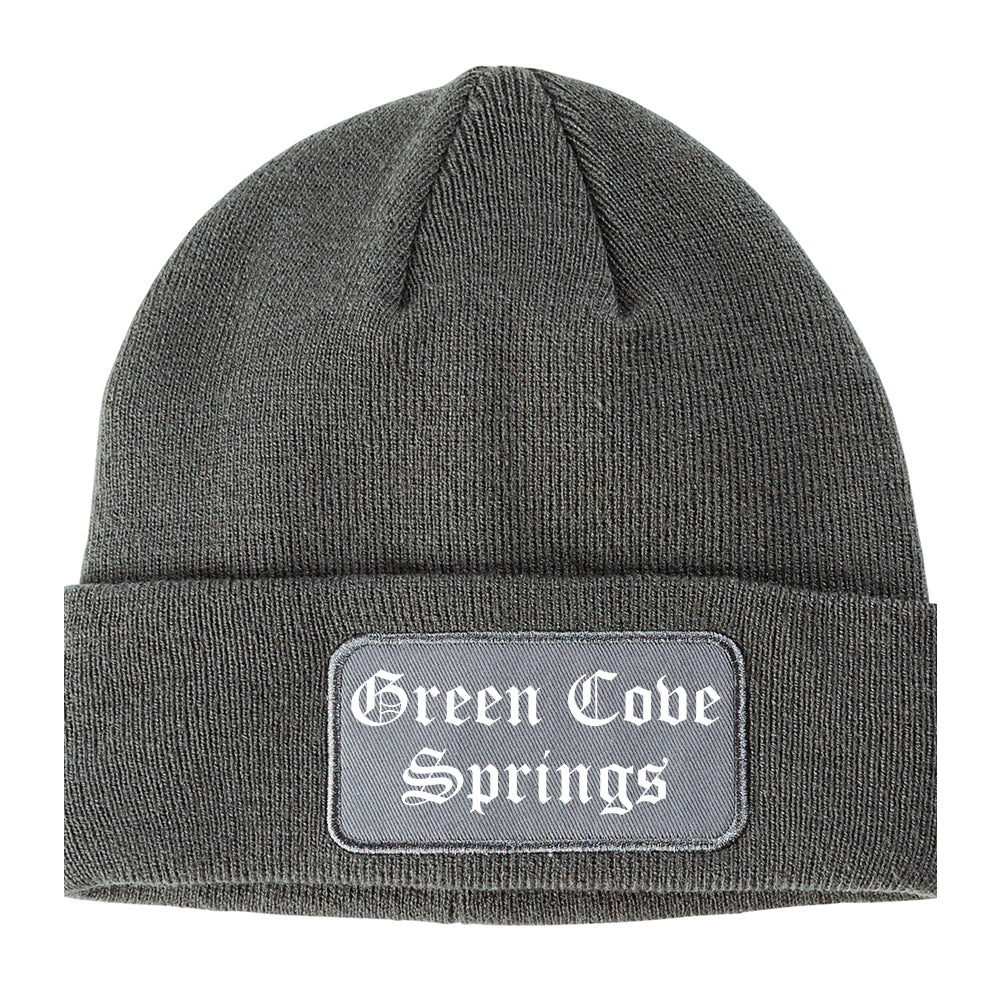 Green Cove Springs Florida FL Old English Mens Knit Beanie Hat Cap Grey
